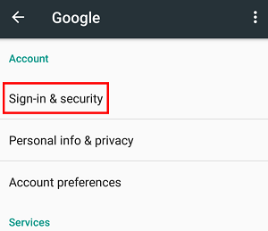 Sign in and security settings