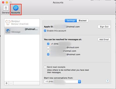 Select Accounts menu