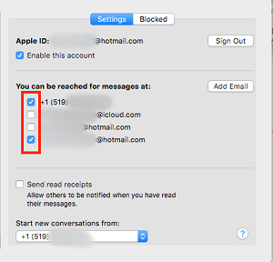 Select addresses to send and receive messages