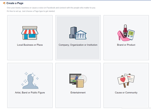 Choose a category for Facebook business page