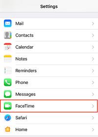 FaceTime settings option