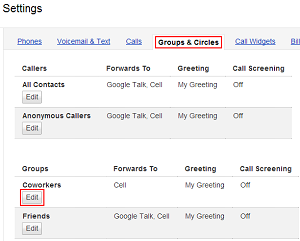 Select group for voicemail