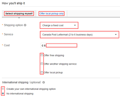Shipping options form