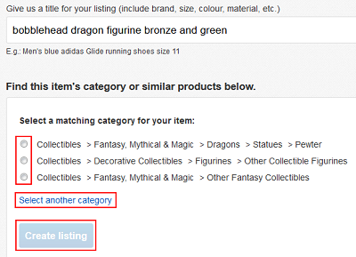 Choose an eBay category