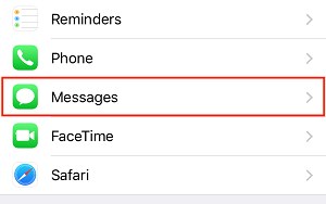 Messages menu option