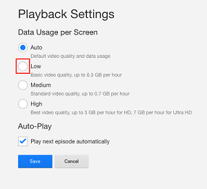 Playback quality settings