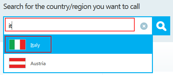 How to select the region that you want to view Skype calling rates for
