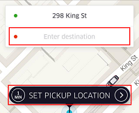 Select destination for Uber ride