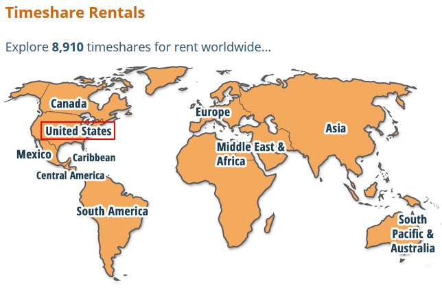 Selecting a world region to search for timeshares for sale