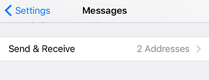 Choose addresses to send and receive iMessages