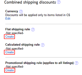Set rules for shipping