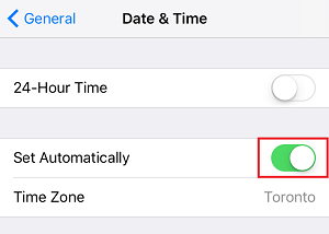 Set Date and Time Automatically setting