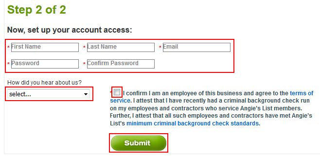 How to set up the access credentials for your company account on Angie's List
