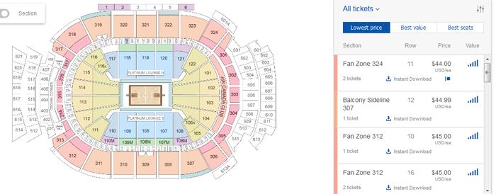 Selecting venue seats on StubHub