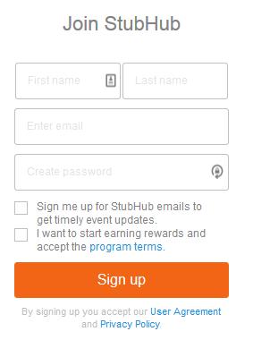The StubHub account creation form