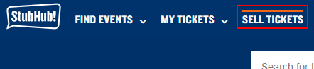 Button to sell tickets on StubHub