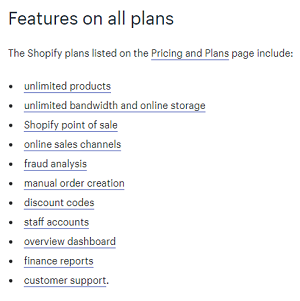 Shopify plan options
