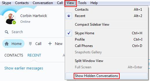 How to reveal hidden Skype conversations