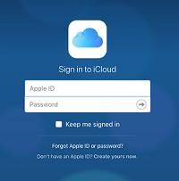 iCloud sign in screen