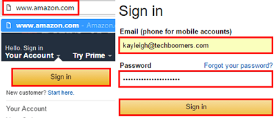 Amazon sign in screen