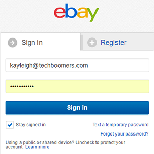 eBay sign in screen