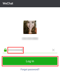 WeChat log in screen