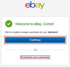 Customize eBay username