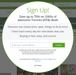 Groupon newsletter sign up pop-up box