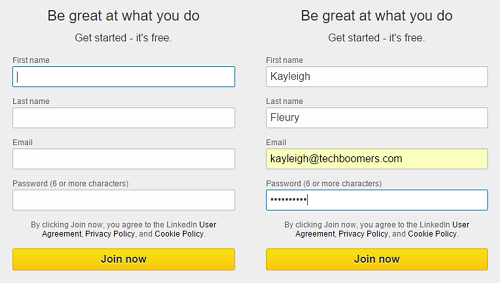 LinkedIn sign up form