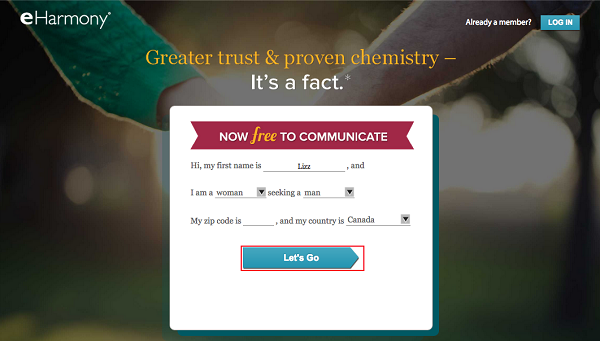 eHarmony sign up form