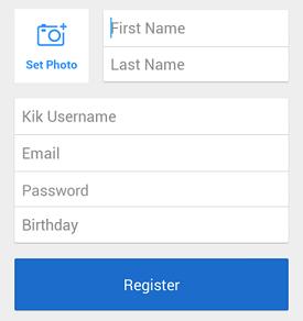 Kik sign up screen