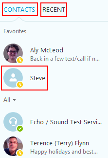 Your Skype contacts menu