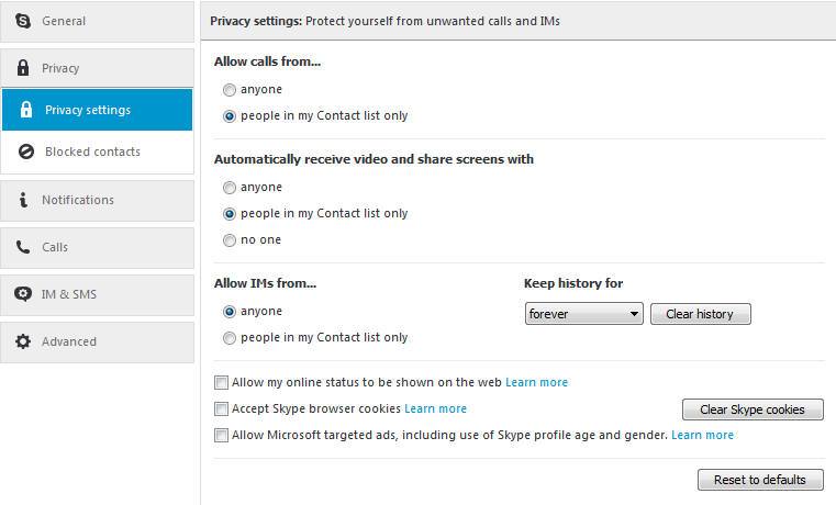 Privacy settings for Skype