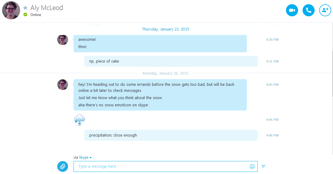 What you will see in the text message interface for Skype