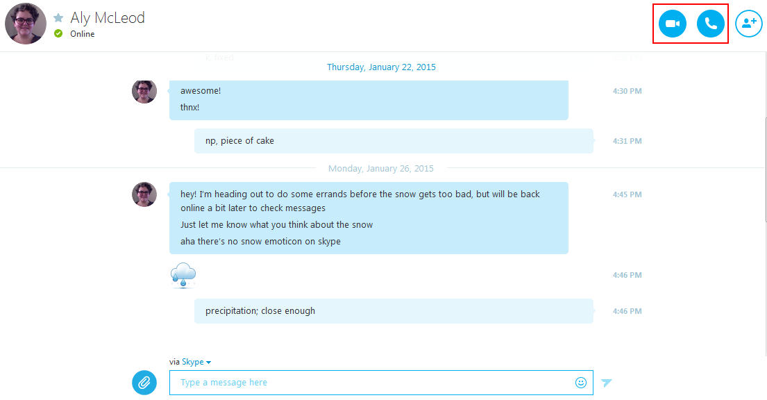 The Skype text messaging interface