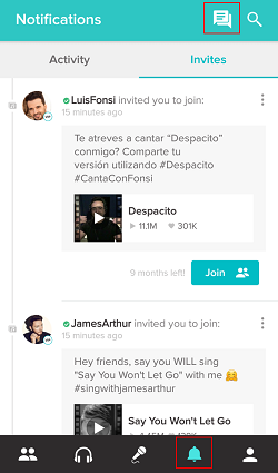 Messages on Smule