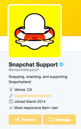 Snapchat Support Twitter page