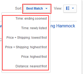Use the drop-down menu to sort your search results