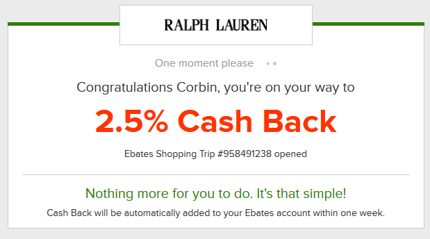 Starting your shopping through Ebates