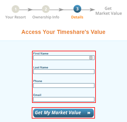 How to provide information for SellMyTimeshareNow to contact you with your timeshare value appraisal