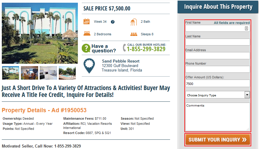 How to submit an inquiry about a timeshare for sale