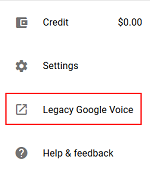Legacy Google Voice menu