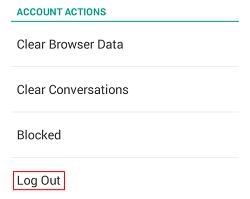 Snapchat Log Out button