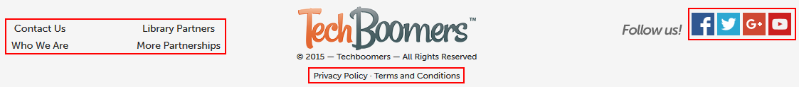 Bottom of Techboomers home page