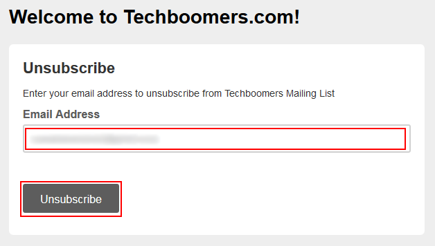 Confirm cancelling Techboomers newsletter subscription