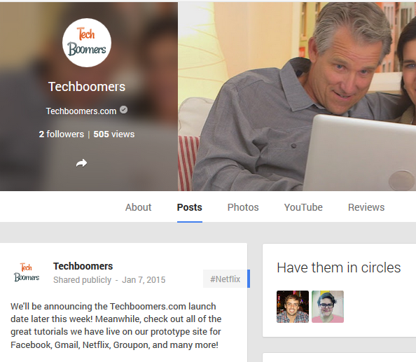 Techboomers Google Plus page