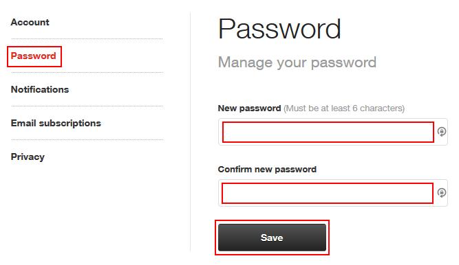 how to change td account password