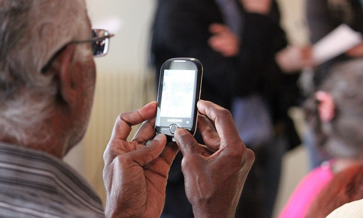 Senior using smartphone