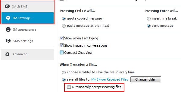 How to turn automatic file downloads in Skype on or off
