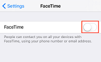 Turn off FaceTime toggle